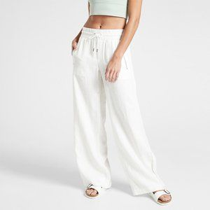 Athleta White Linen Drawstring Wide Leg Pants 8